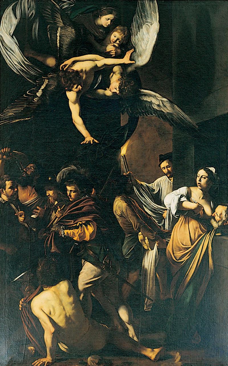La fotografia mostra Le sette opere di MIsericordia, opera di Caravaggio che si trova nella Chiesa del Pio Monte della Misericordia