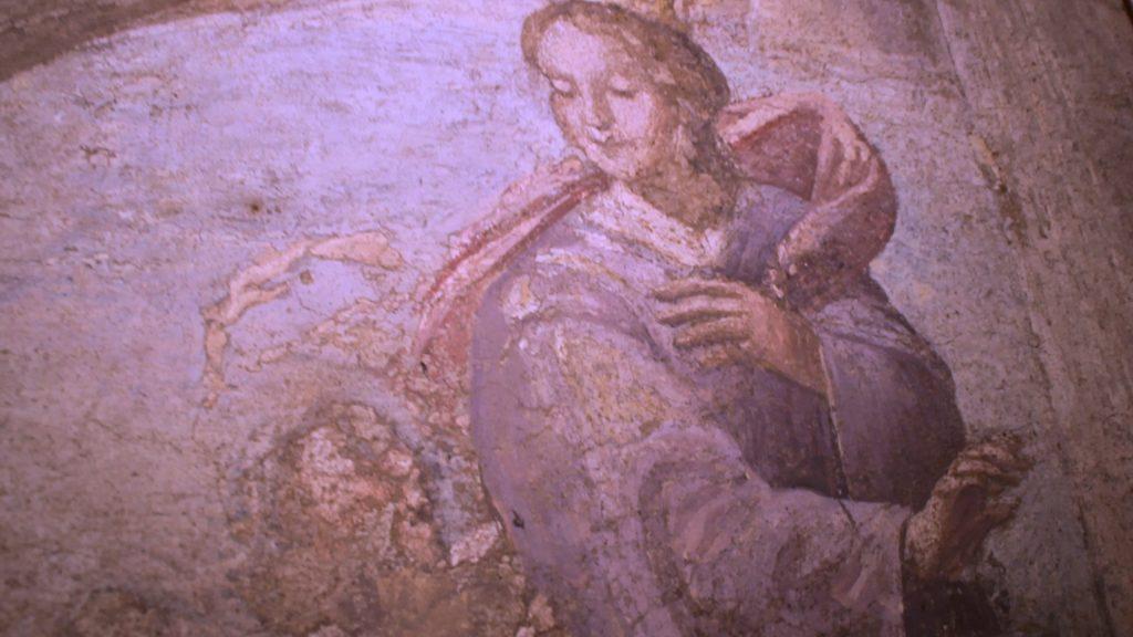Affresco all'interno della Chiesa del Salvatore rappresentante la leggenda di Santa Patrizia